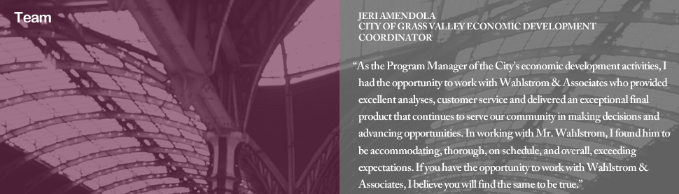Testimony of JERI AMENDOLA CITY OF GRASS VALLEY ECONOMIC DEVELOPMENT COORDINATOR